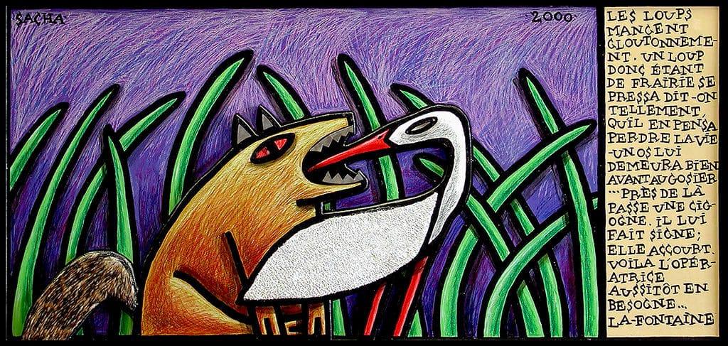 Sacha Schwarz - Oeuvres - Fables : Loup et cigogne