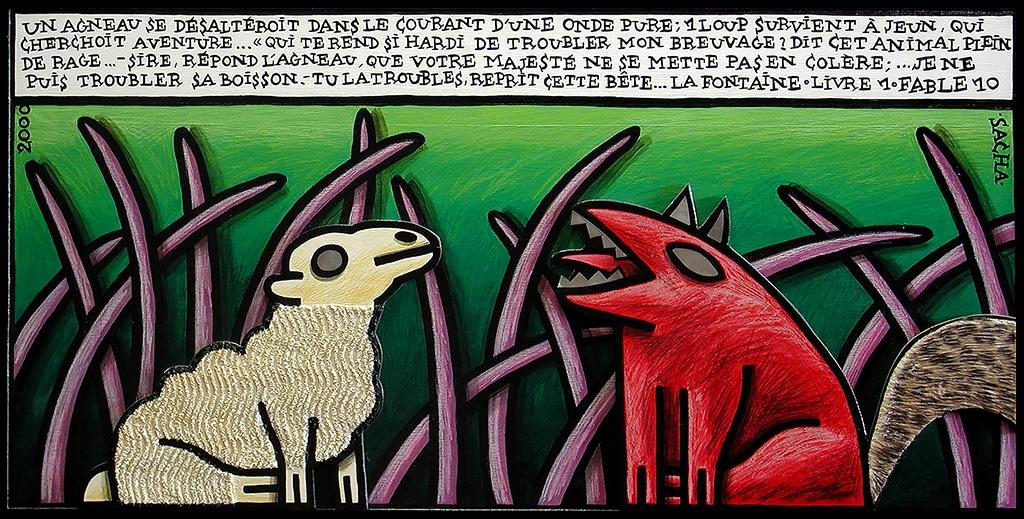 Sacha Schwarz - Oeuvres - Fables : Loup et agneau